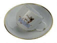 Meissen Porcelain Dog Figurine - Pug on Cup and Saucer Limited Edition